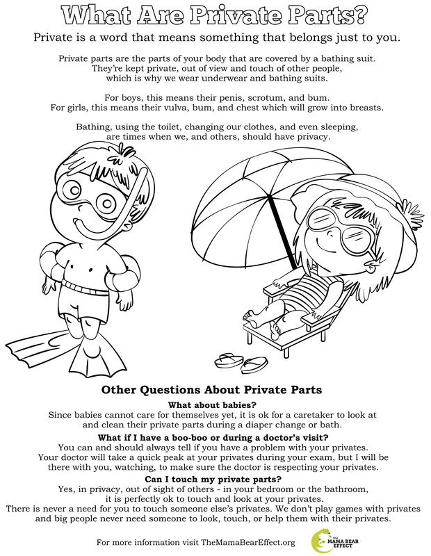Free Coloring Pages for Body Safety to introduce ways to help