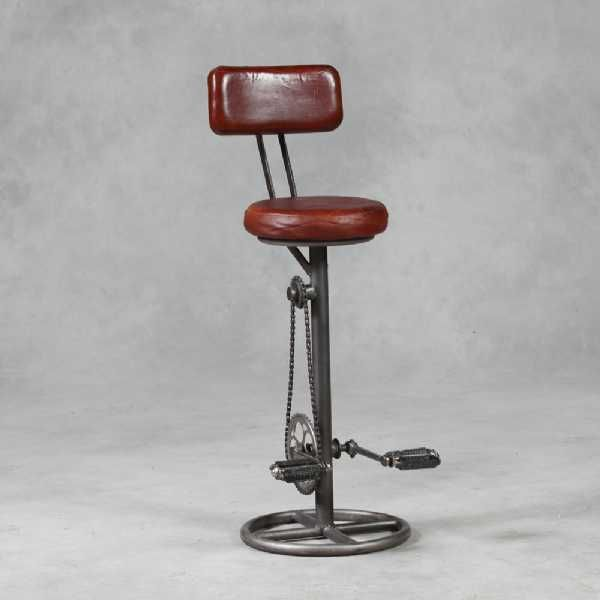 Super Steampunk Vintage Leather And Iron Bike Pedal Bar Stool With Evergreenethics Interior Chair Design Evergreenethicsorg