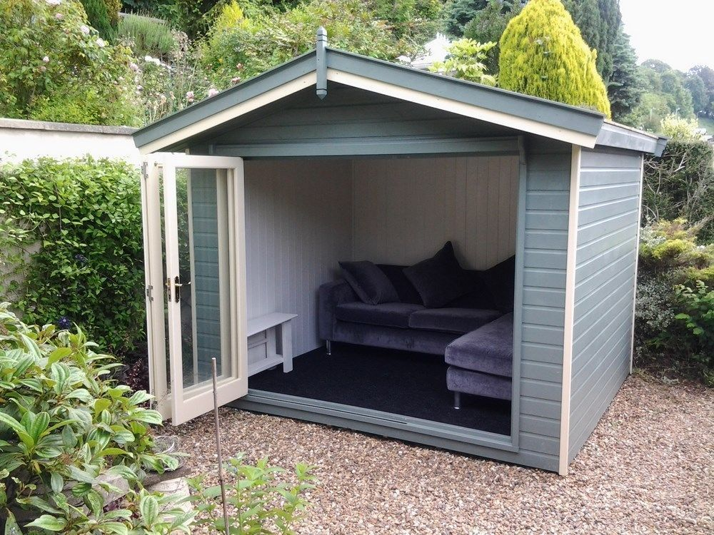 10x8 summerhouse home office bi folding doors insulated for Insulated office
