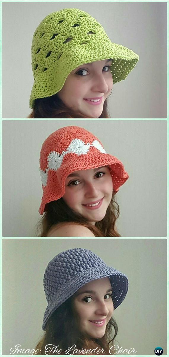 Crochet Women Sun Hat Free Patterns | Gorros, Tejido y Gorros de crochet