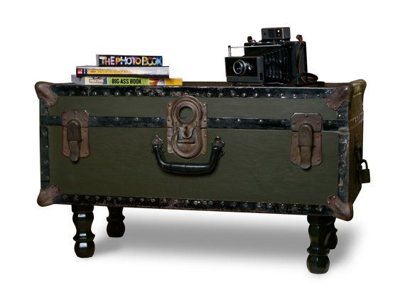 Vintage Army Green Trunk Coffee Table (can Do This To Blue French Trunk)