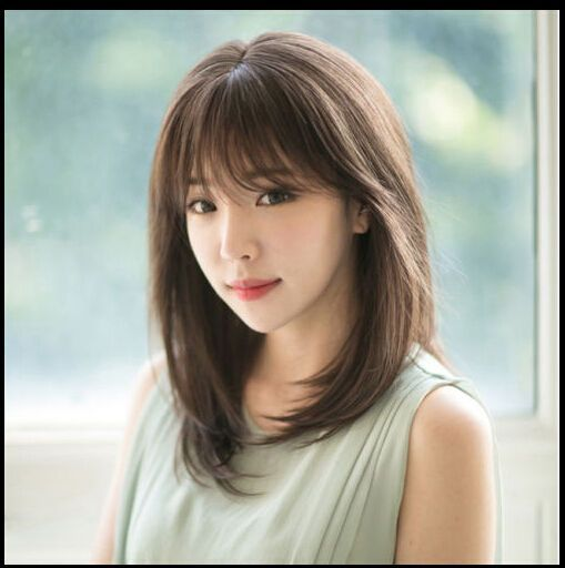 Lady Medium Long Straight With Bangs Hair Daily Costume Heat
