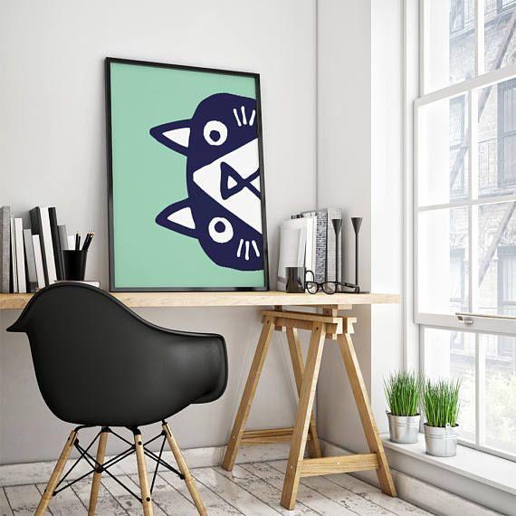 Cat Art Print. Gift For Catlover. Home Or Office