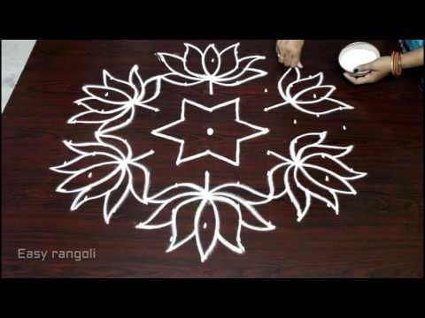 Lotus Flower Kolam Designs With 11x6 Dots For Pongal Sankranti Muggulu Easy Rangoli Rangoli Designs Images Easy Rangoli Designs Rangoli Designs With Dots