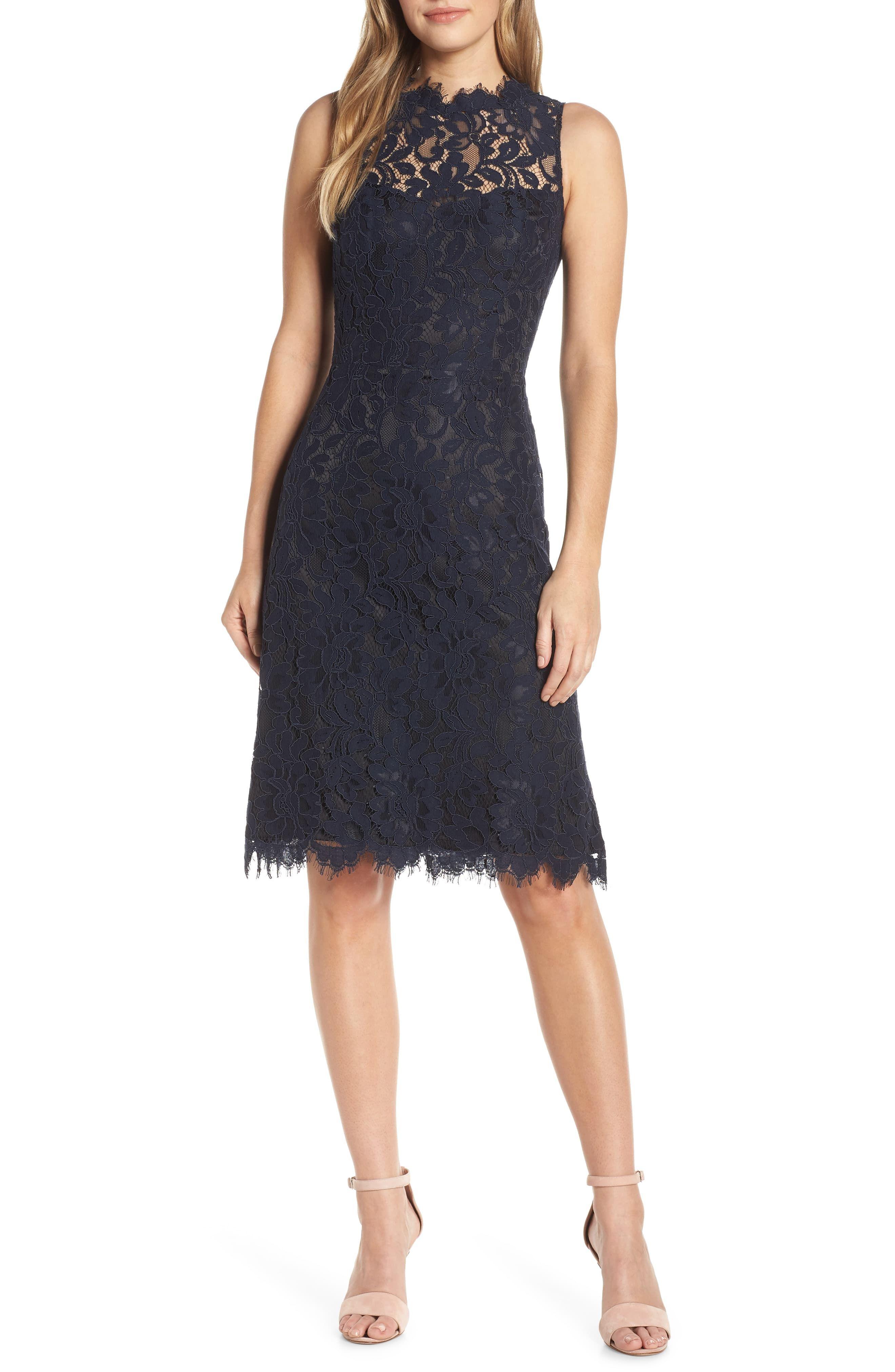 Petite Womens Eliza J High Neck Lace Sheath Dress Size 12p