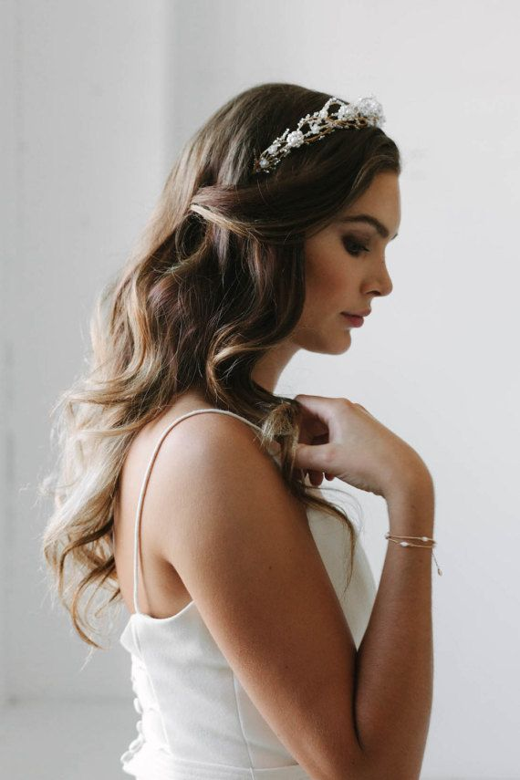 TEMPEST | crystal and pearl wedding crown, gold wedding crown, delicate bridal headpiece