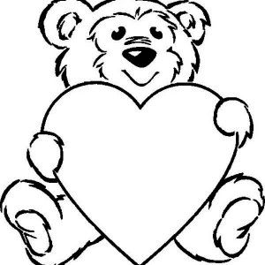 Cute Teddy Bear And Giant Heart On Valentine S Day Coloring Page