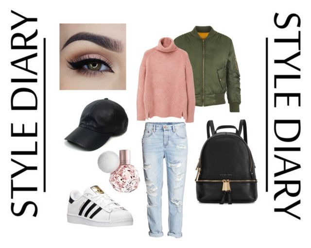 """""""A causal look, hanging out with friends"""" by tychellej on Polyvore featuring H&M, adidas, WearAll, MANGO, Vianel, Michael Kors, women's clothing, women, female and woman"""