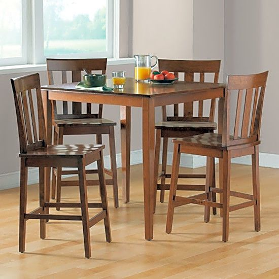 5 Piece Counter Height Dining Set Cherry With 4 Chairs Breakfast Nook Or Kitchen #Mainstays #Contemporary