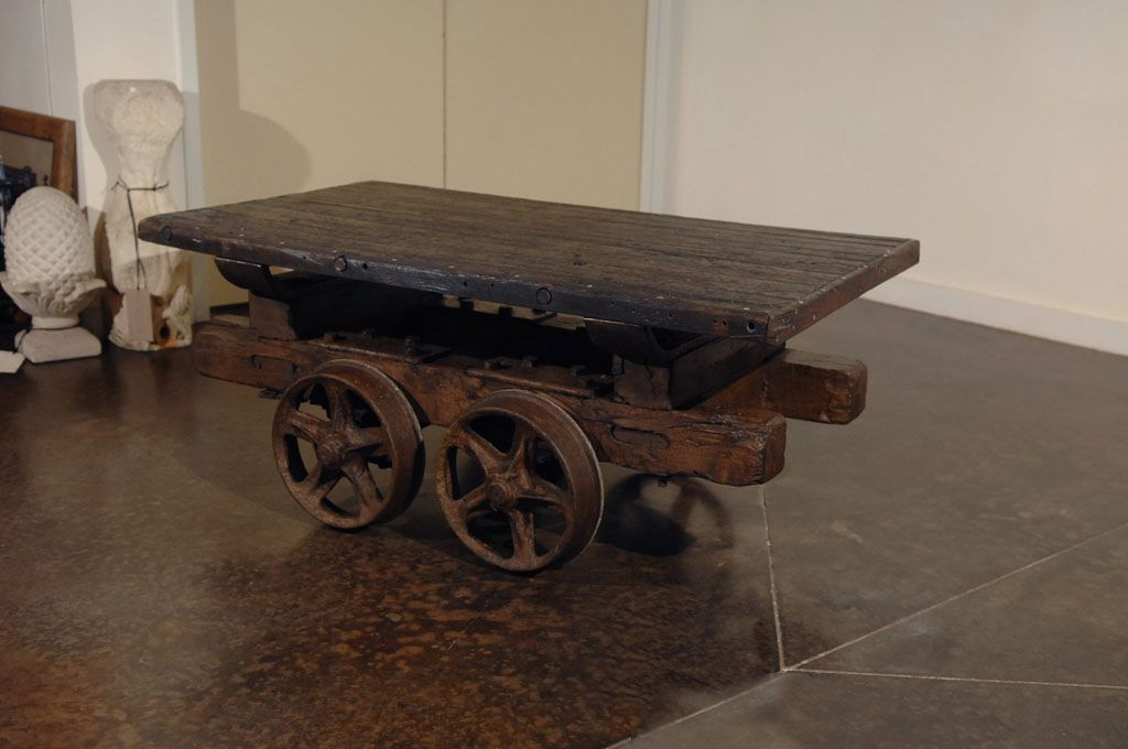 Wagon Coffee Table Antique Rail Cart Coffee Table Image 2 Cart