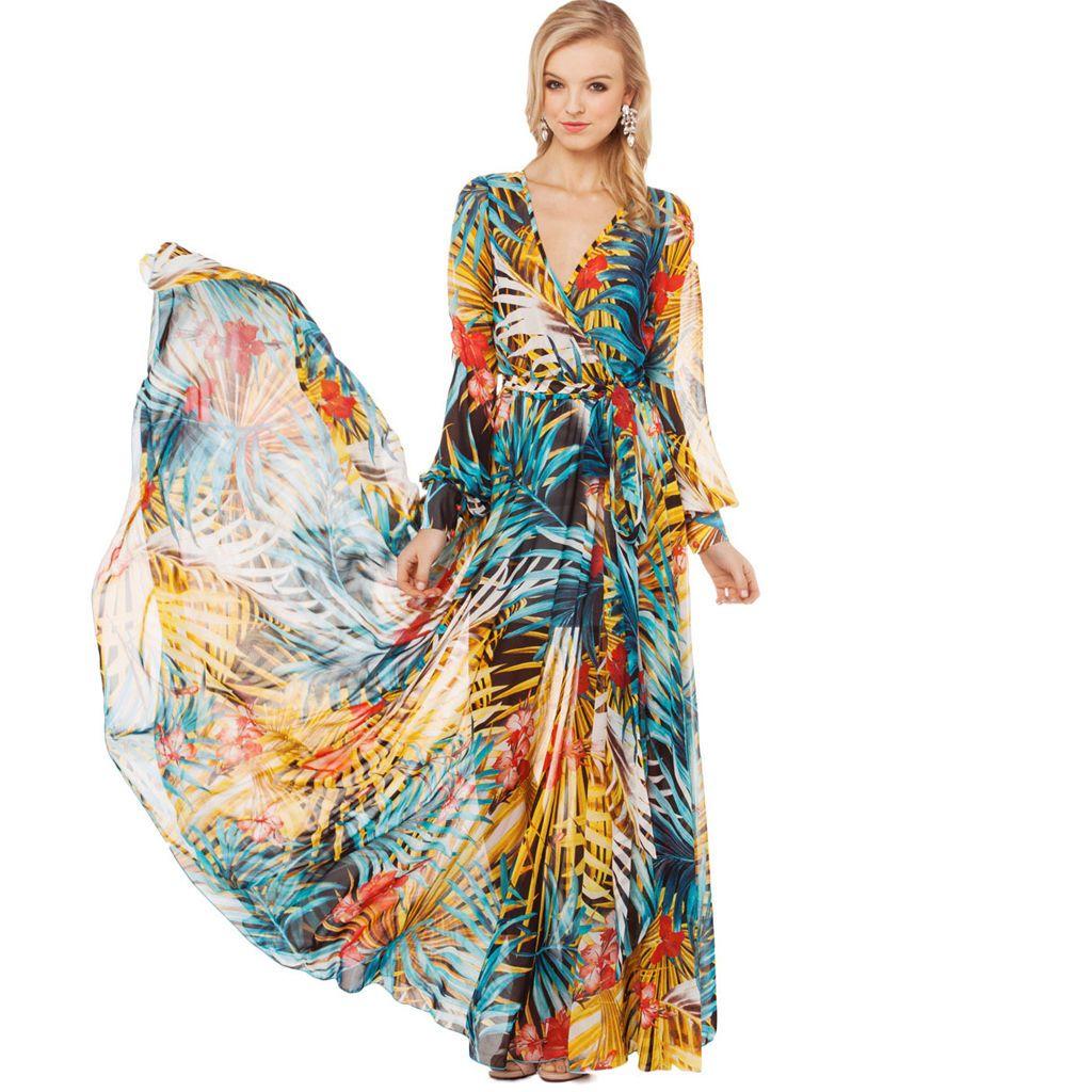 Womenus elegant floral print chiffon long maxi dress hawaii summer