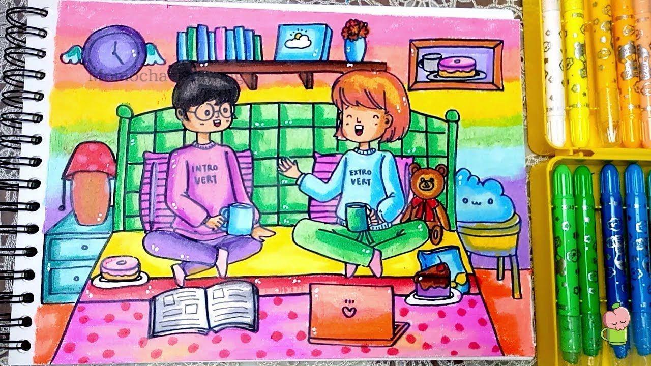 Persahabatan Cara Menggambar Dan Mewarnai Dengan Gradasi