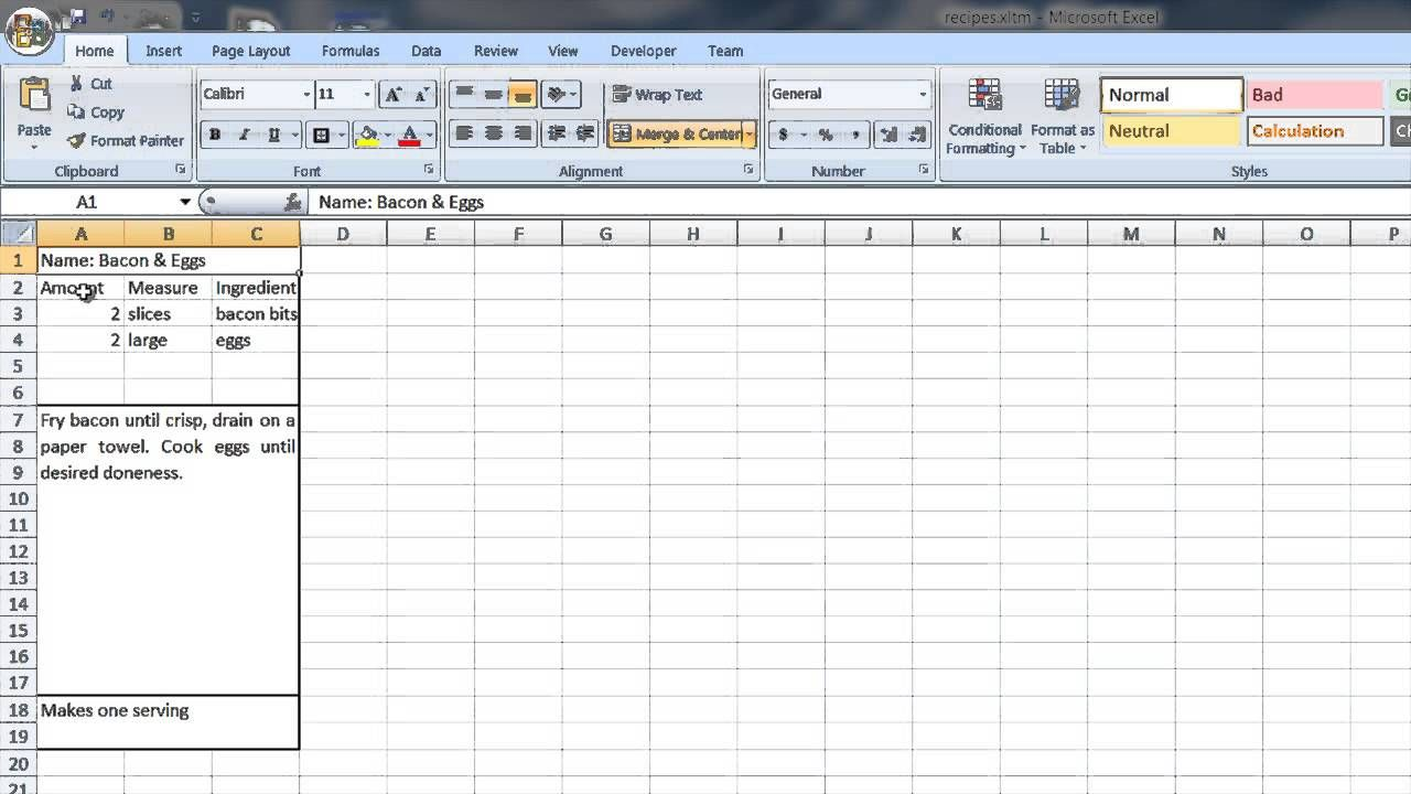 How To Create A Recipe Template In Word & Excel Computer