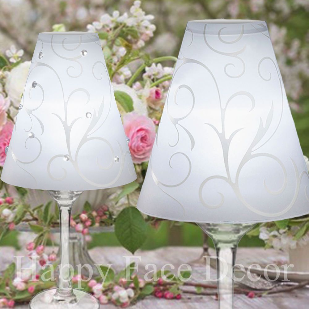 David Tutera Wedding Centerpiece Ideas: 36 David Tutera WINE GLASS LAMP SHADES Swirl Vellum