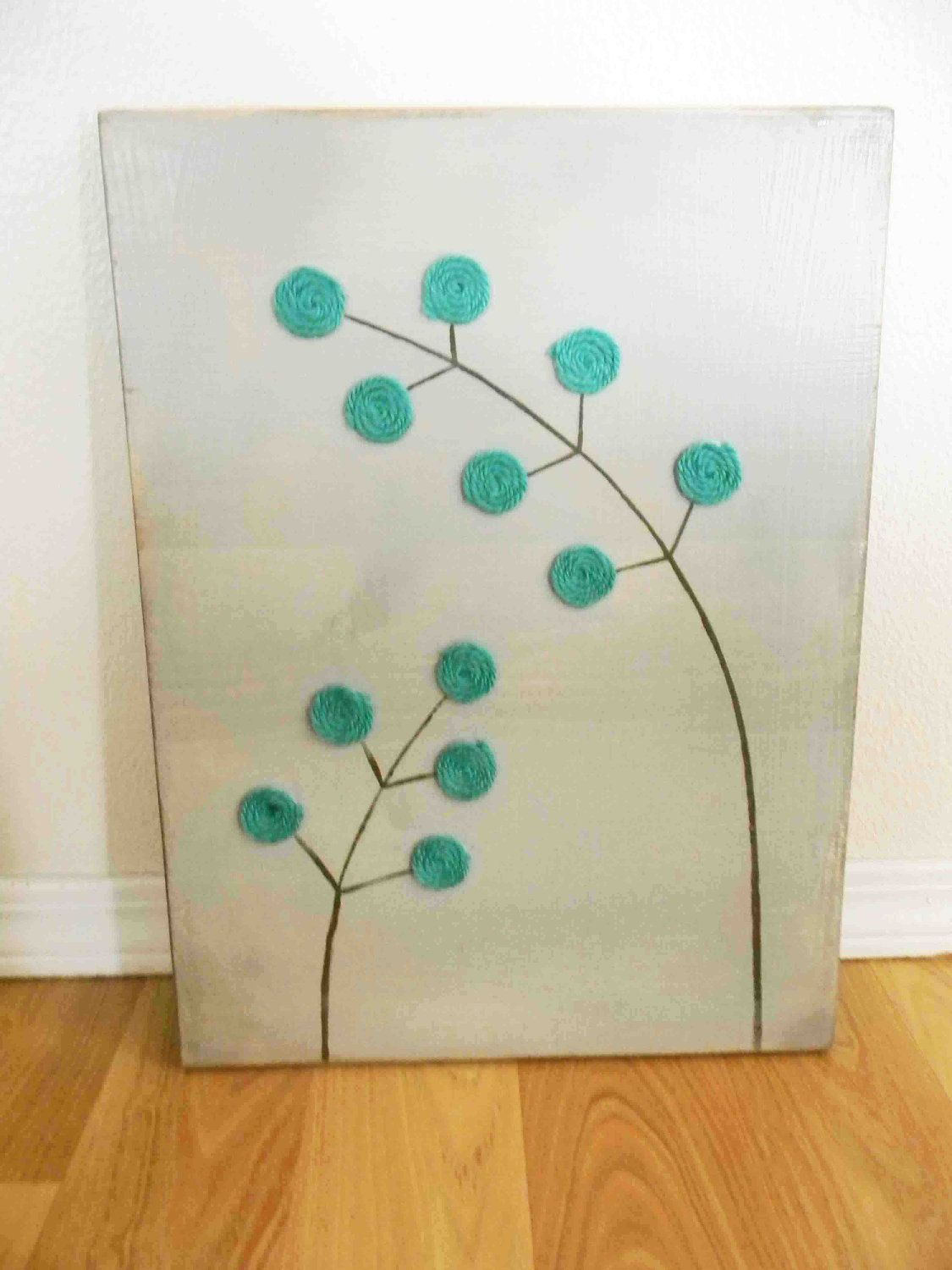 Turquoise and gray modern flower art