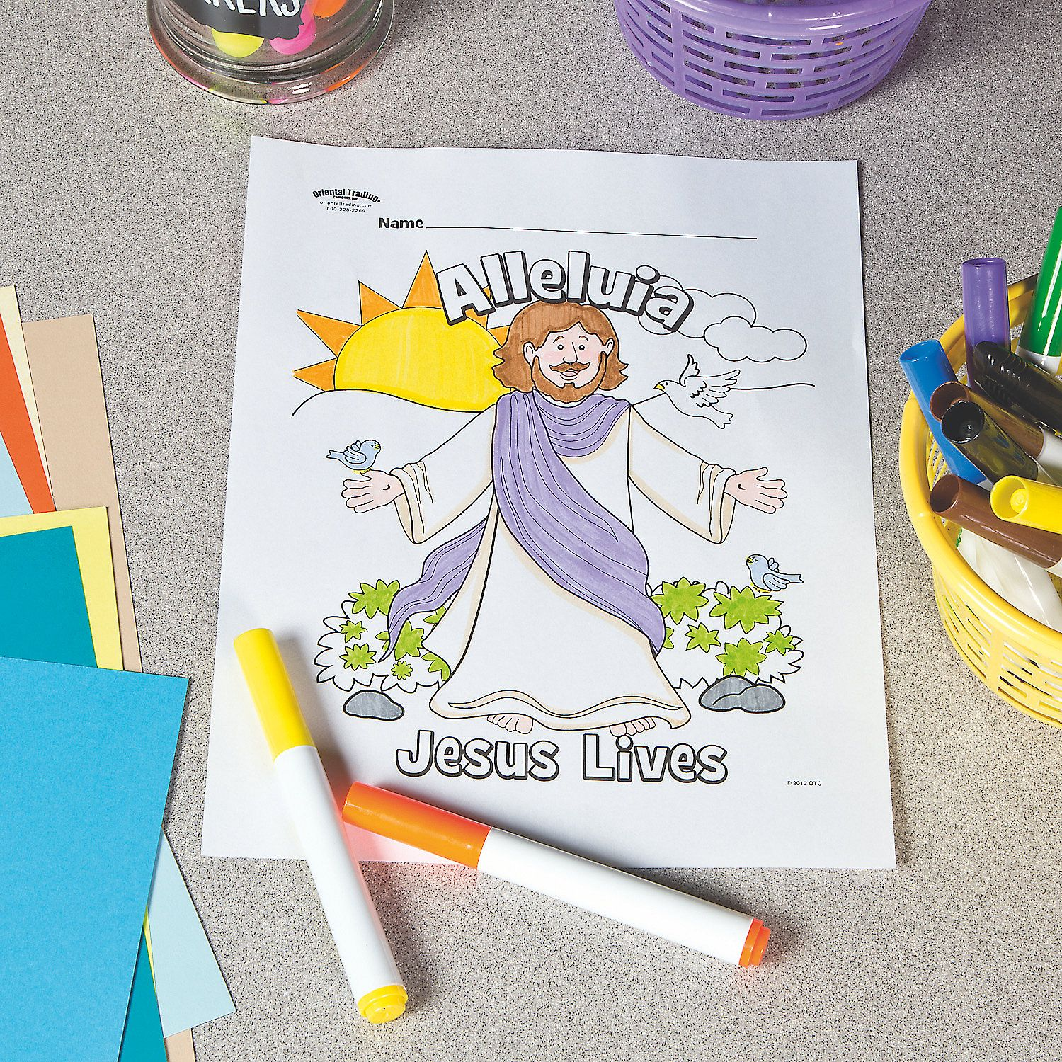 Jesus Lives Free Printable Coloring Page Orientaltrading Com