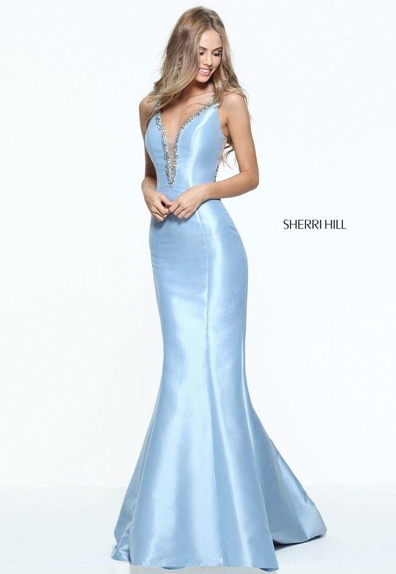 2017 Plunged Neckline Beaded Light Blue Mermaid Dress By Sherri Hill 50994