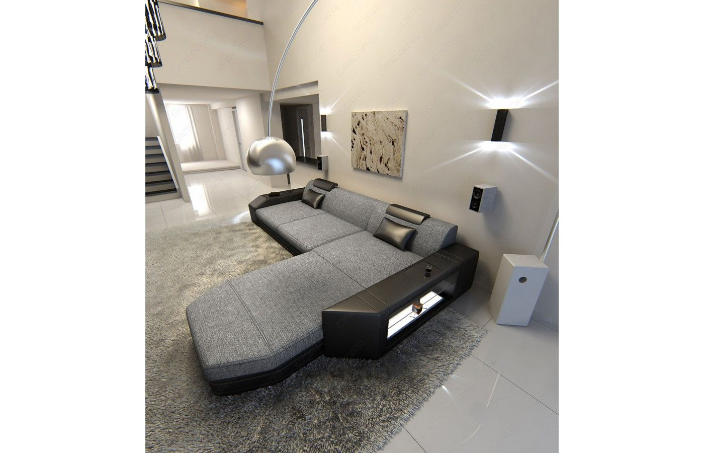 Unglaublich Sofa L Form Grau Foto Von Stoffsofa Prato L-form In Grau-schwarz - Iv
