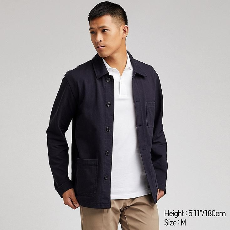 MEN WASHED JERSEY WORK JACKET, NAVY | Mens work jacket, Work jackets, Mens  outerwear