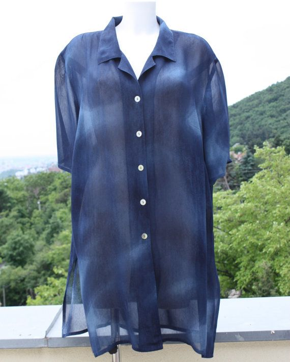 Blue chiffon top long unstructured summer by PitzicatVintage, $23.00