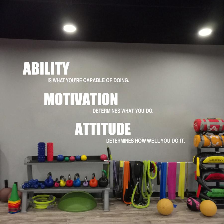 Ability motivation attitude in fitness home gym decor