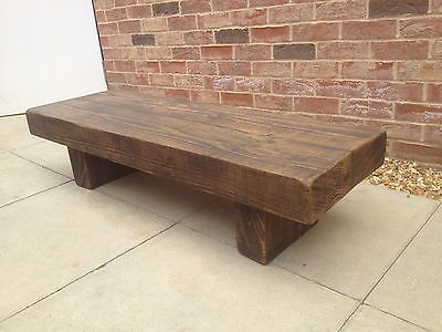 coffee table rustic reclaimed chunky bench wooden oak pine 2ft in Home, Furniture & DIY   eBay