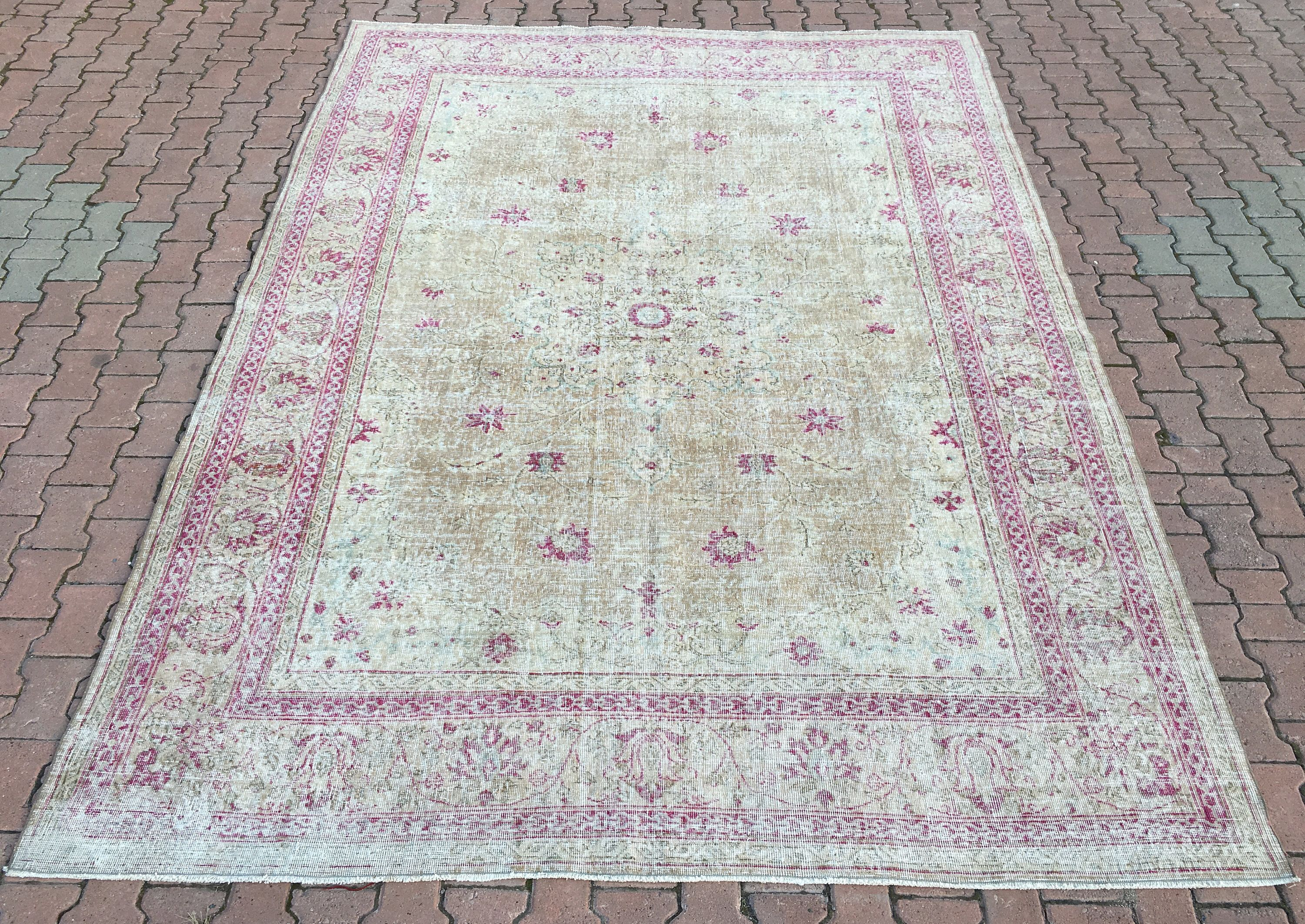 8 2x11 3ft Large Oushak Rug 9x12 Mute Pink