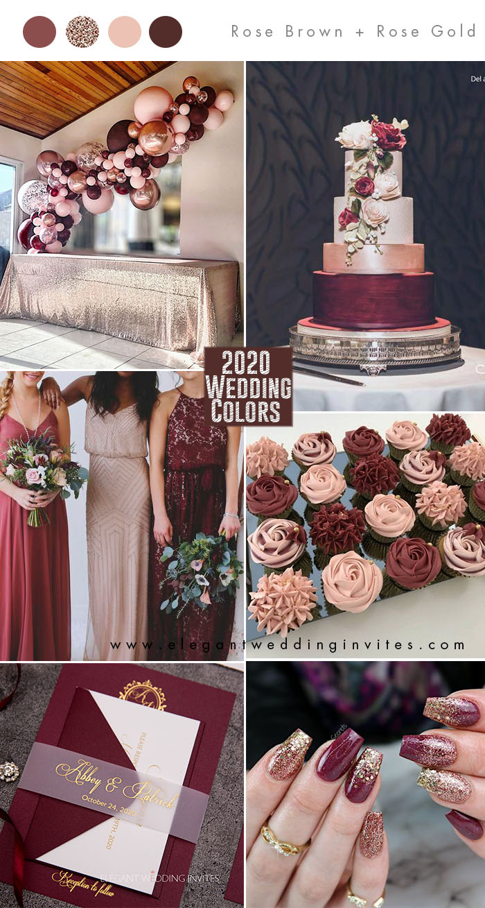 pantone rose brown, burgundy and rose gold wedding color ideas for 2020