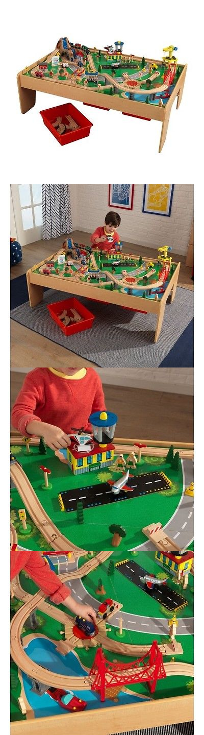Train Sets 113519: Kidkraft Waterfall Mountain Train Set And Table With 120  Accessories Included