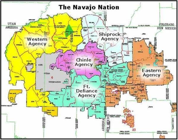 Navajo Reservation Arizona Map.The Navajo Nation Geography And Agencies Native American