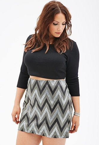 948f62fc0ab Sequined Chevron-Pattern Skirt