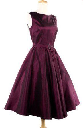 Hey Viv ! 50s Retro Style Party Dress - Purple Plum Satin