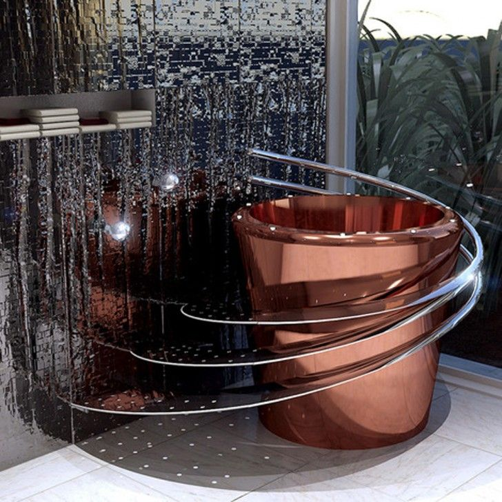 copper floor fountain - spectacular futuristic modern bathroom