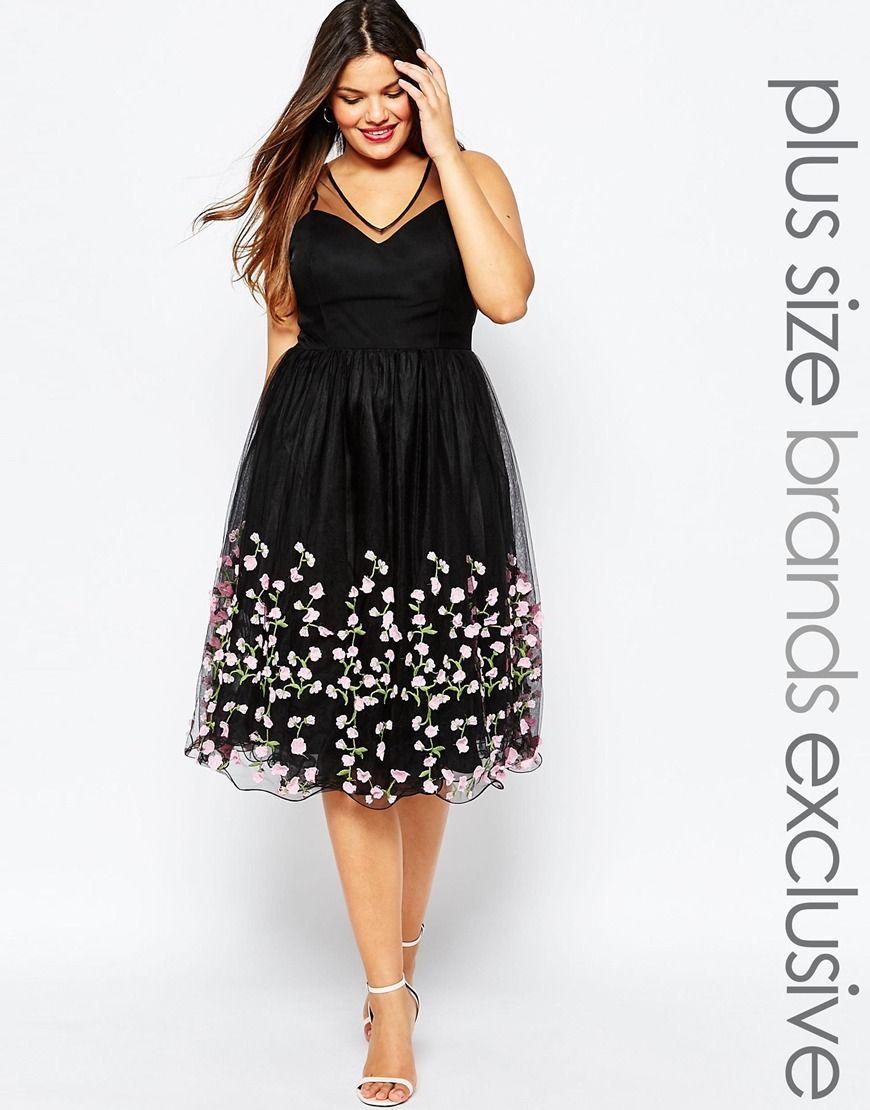Vestido de graduación de tul con aplicación floral de chi chi london