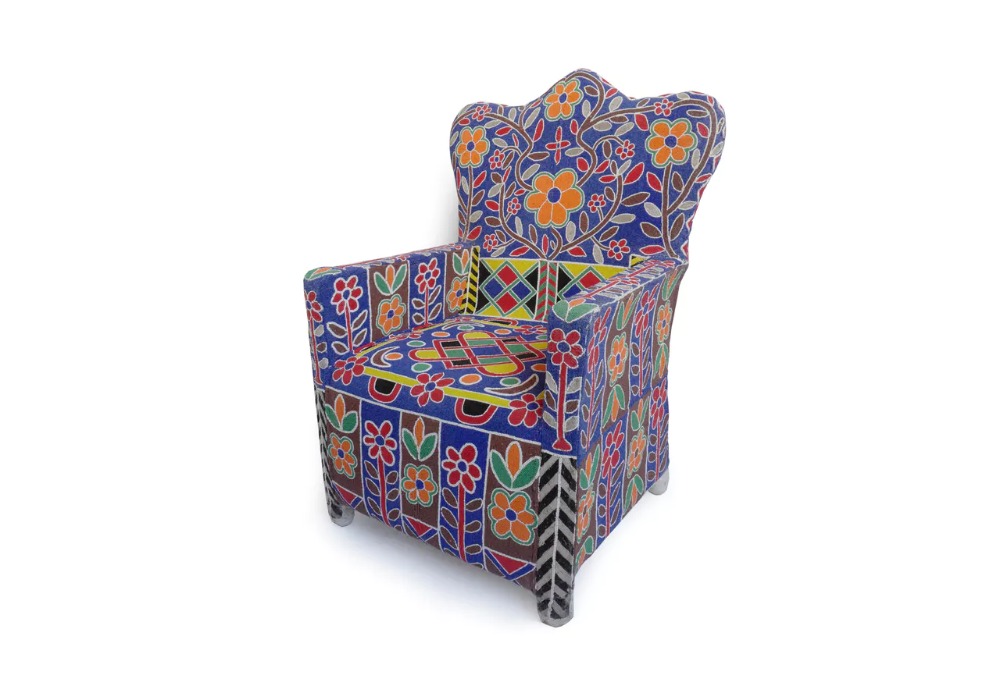 Yoruba Nigerian Beaded Arm Chair Furniture boutique