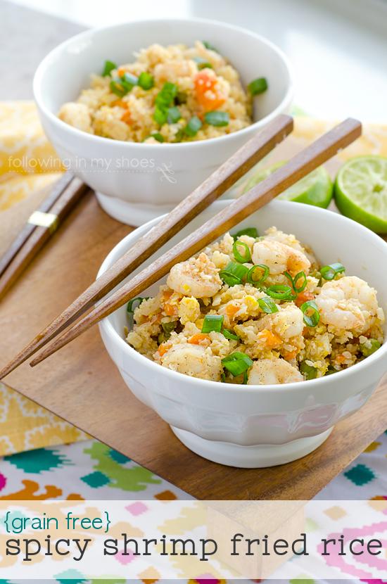 "Spicy Shrimp Fried Cauliflower ""Rice"" #GrainFree #paleo"