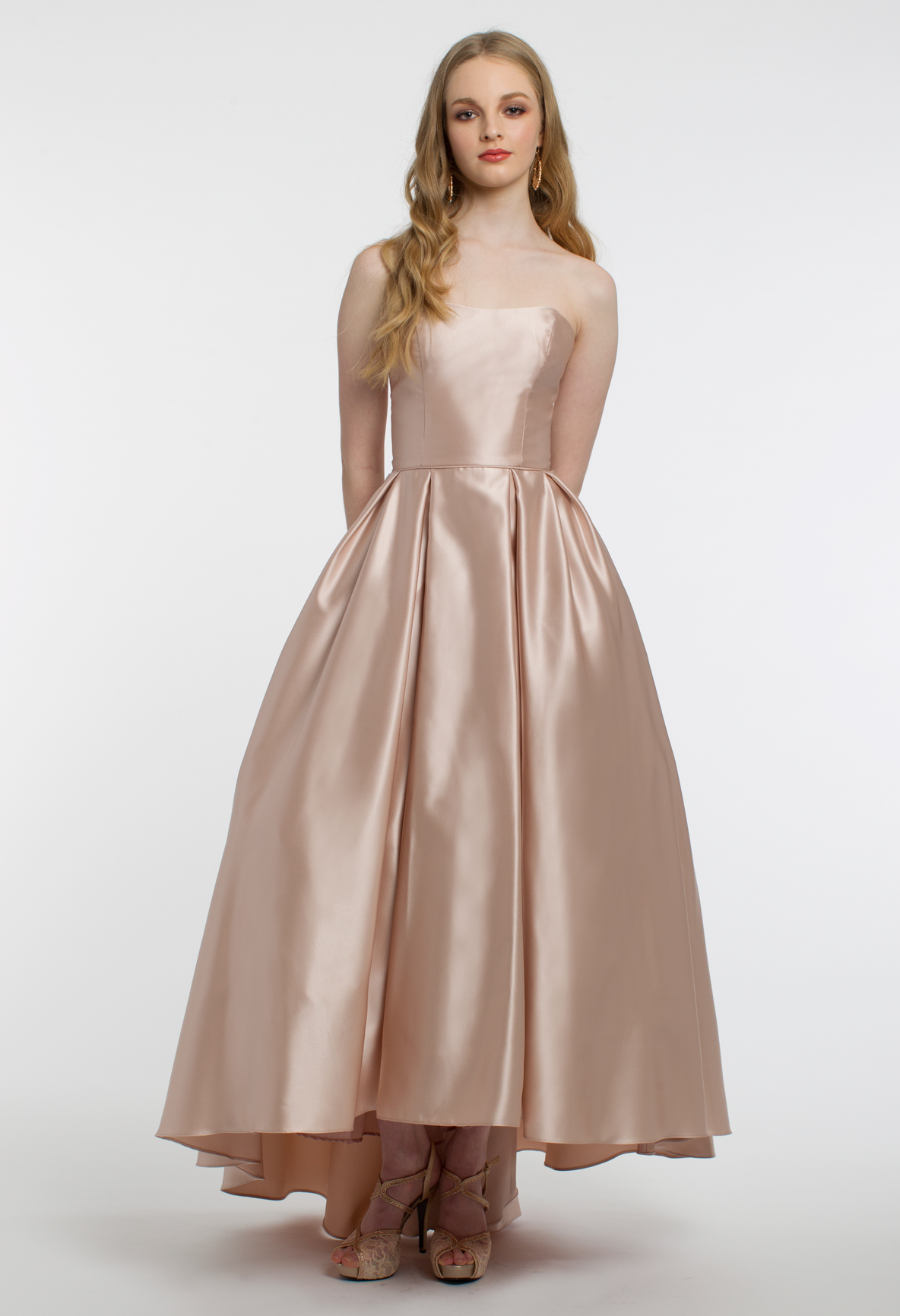 Satin High Low Dress With Pockets Dresses High Low Prom Dress Strapless Prom Dresses [ 1732 x 1184 Pixel ]