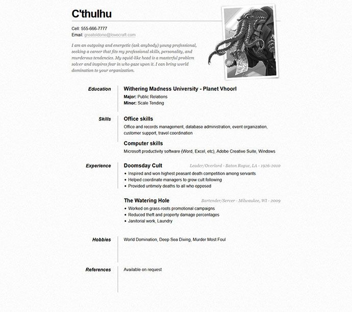 one page resume template resume template Pinterest Sample