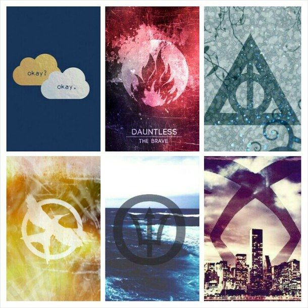 divergent, fandom, harry potter, hunger games, percy jackson