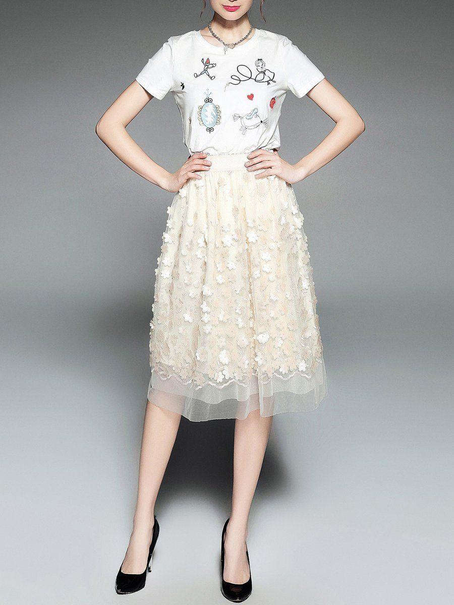 AOFULI Aline Appliqued Elegant Midi Skirt Appliqued AdoreWe and