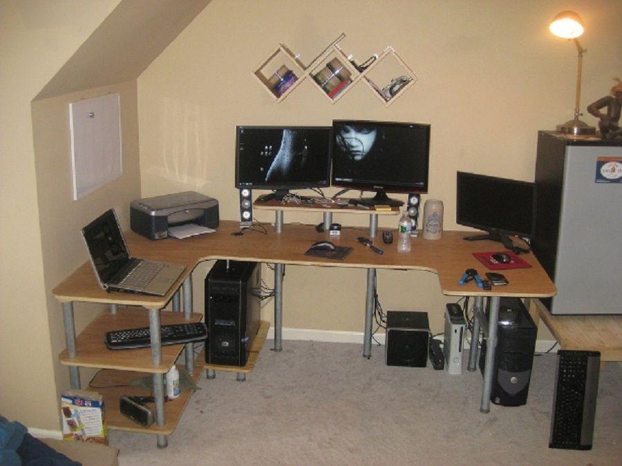 Furniture Amazing Large U Shaped Diy Computer Desk Plus Anglepoise Lamp Also Modern Floating Wall Shelves Diy Computer Desk Large Computer Desk Diy Desk Plans
