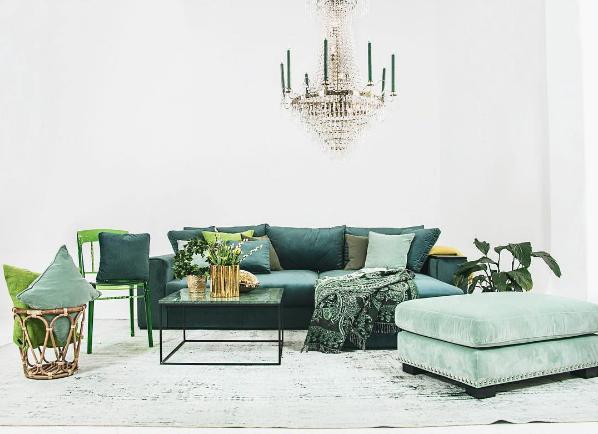 Grön Björnen sammetssoffa bäddsoffa Bädd, soffa, säng, sammet, smart förvaring, compact living