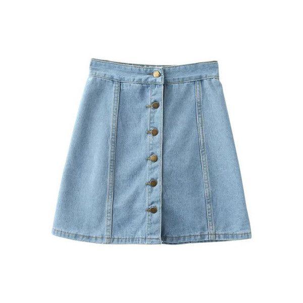 b97c5c2c67 SheIn(sheinside) Light Blue Empire Waist Buttons Front Denim Skirt ($19) ❤  liked on Polyvore featuring skirts, bottoms, blue, a line denim skirt,  button ...