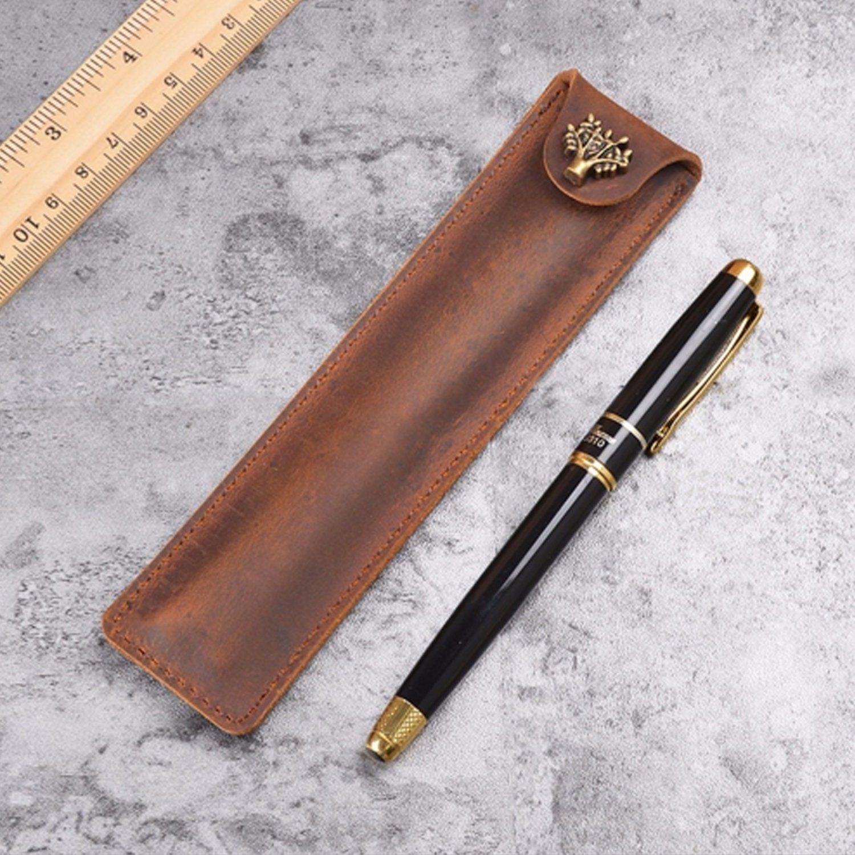 Genuine Leather Fountain Pen Case Cowhide Black 10 Pen Holder Case