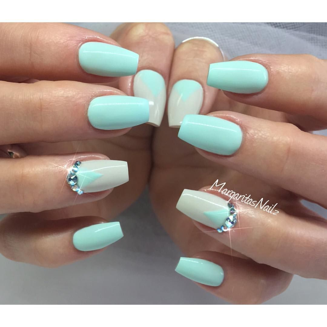 Margaritasnailz On Instagram Mint Green Nails Green Nails Mint Nails