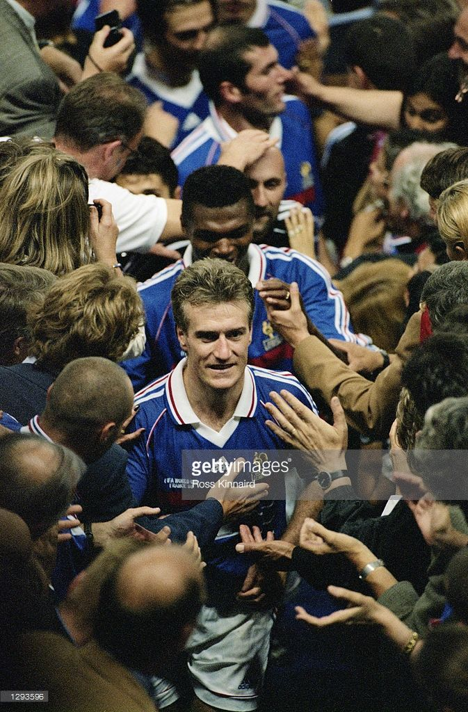 Zinedine Zidane Of France Is Hailed By His Team Mates After A Match Didier Deschamps France Zinedine Zidane