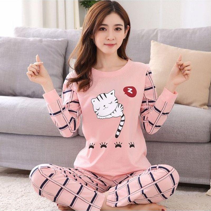 9c4208a837b 2018 new Women pajamas set autumn ladies cute sleepwear woman s long  sleeved household clothing set free shipping(China)
