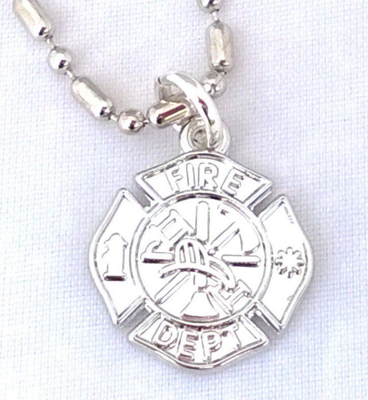 Silver firefighter necklace maltese cross pendant ball chain silver firefighter necklace maltese cross pendant ball chain unisex mens womens aloadofball Choice Image