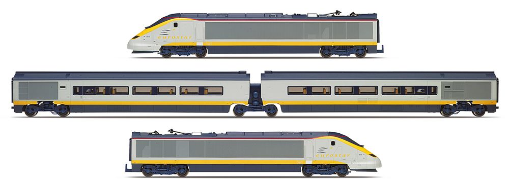 Hornby R3293 Cl 373 Eurostar 4 Car Train Pack In Livery