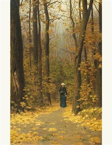 Woman Walking Forest Trail